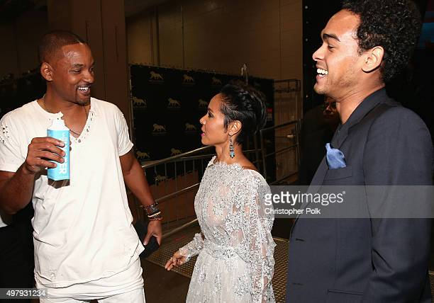 Actor/singer Will Smith Jada Pinkett Smith and Willard Christopher Smith III attend the 16th Latin GRAMMY Awards at the MGM Grand Garden Arena on...