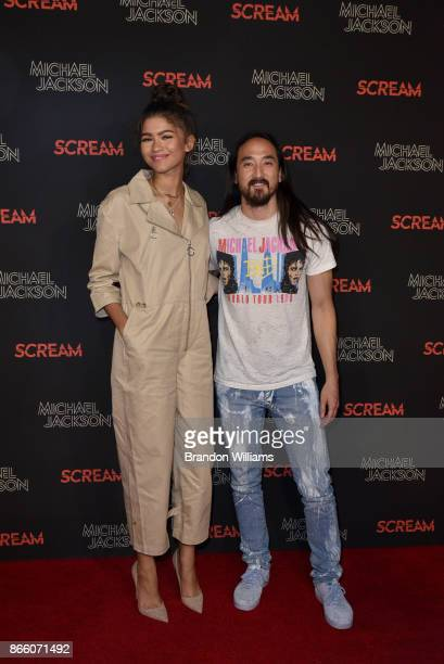 Actor/singer Zendaya and DJ Steve Aoki attends SCREAM presented by the estate of Michael Jackson and Sony Music Publishing at TCL Chinese 6 Theatres...