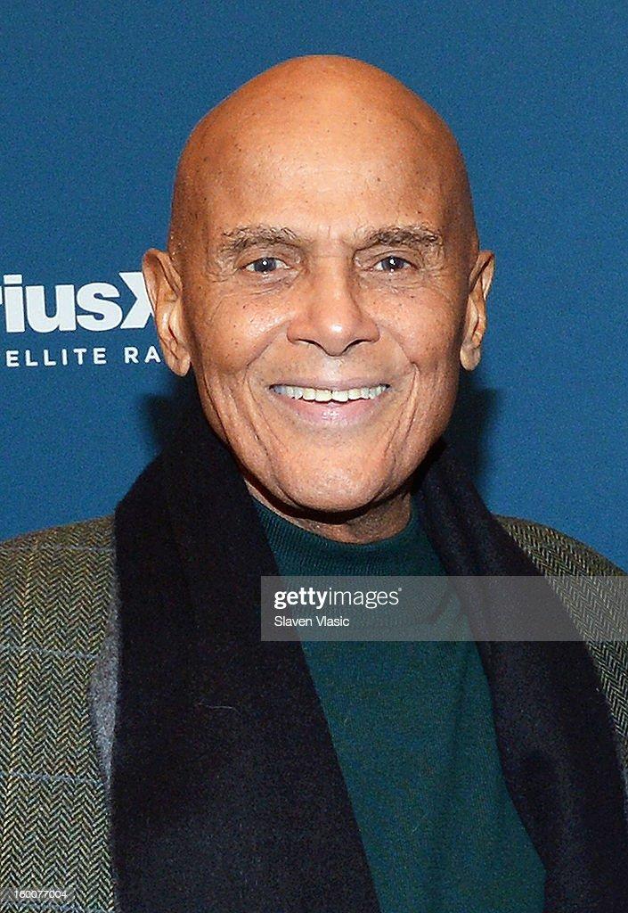 Actor/singer/activist Harry Belafonte is interviewed by SiriusXM host Joe Madison at SiriusXM studios on January 25, 2013 in New York City.