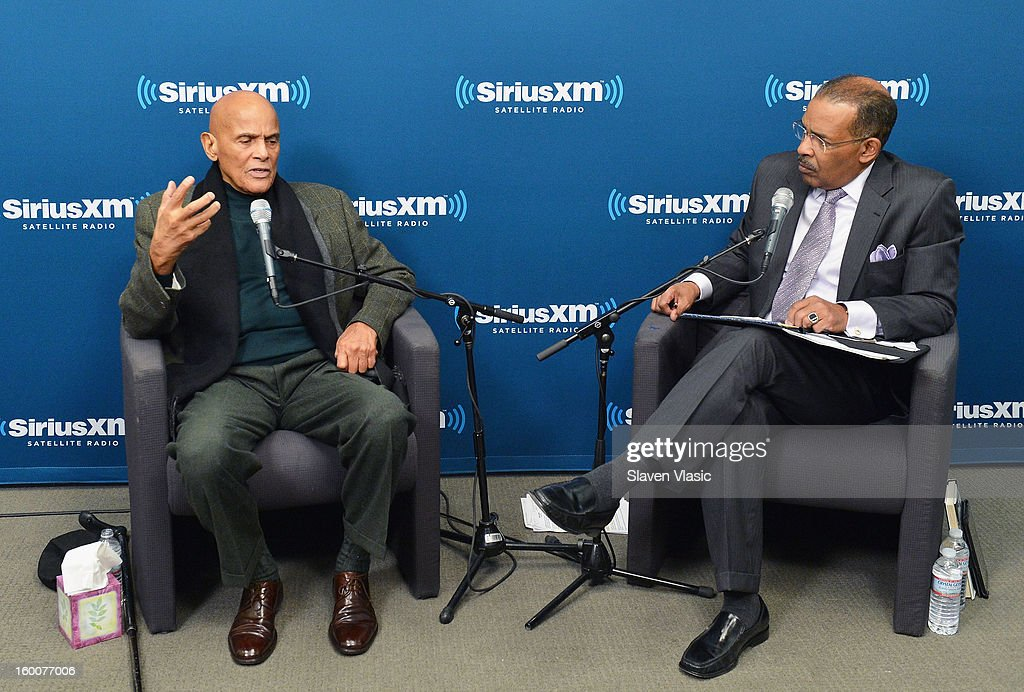 Actor/singer/activist Harry Belafonte (L) is interviewed by SiriusXM host Joe Madison (R)at SiriusXM studios on January 25, 2013 in New York City.