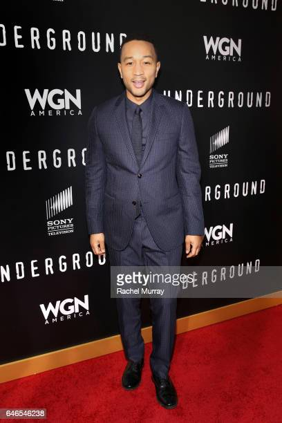 Actor/Singer/Executive producer John Legendattends WGN America's 'Underground' Season Two Premiere Screening at Regency Village Theatre on March 1...