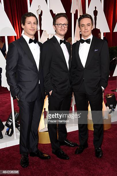 Actor/singers Andy Samberg Jorma Taccone and Akiva Schaffer of The Lonely Island attend the 87th Annual Academy Awards at Hollywood Highland Center...