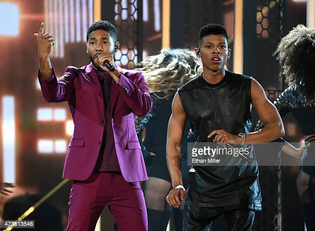 Actor/singers Jussie Smollett and Bryshere Y Gray perform onstage during the 2015 Billboard Music Awards at MGM Grand Garden Arena on May 17 2015 in...