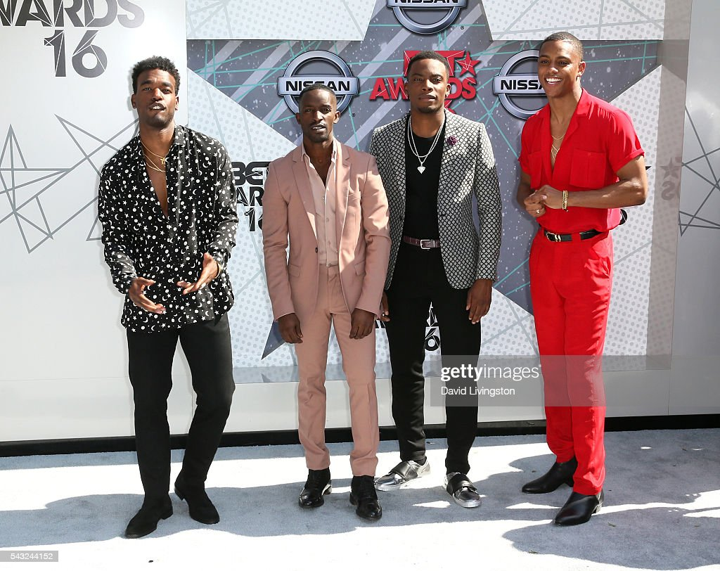 Actor/singers <a gi-track='captionPersonalityLinkClicked' href=/galleries/search?phrase=Luke+James+-+R%26B+Singer&family=editorial&specificpeople=10214261 ng-click='$event.stopPropagation()'>Luke James</a>, <a gi-track='captionPersonalityLinkClicked' href=/galleries/search?phrase=Elijah+Kelley&family=editorial&specificpeople=718968 ng-click='$event.stopPropagation()'>Elijah Kelley</a>, Algee Smith, and Keith Powers attend the 2016 BET Awards at Microsoft Theater on June 26, 2016 in Los Angeles, California.