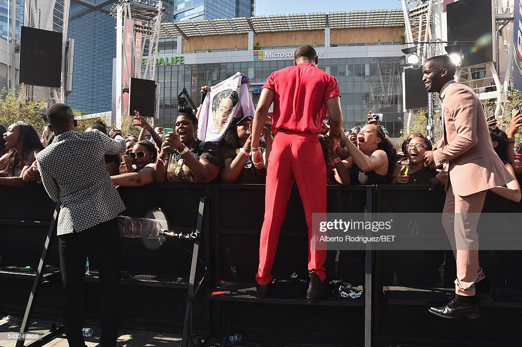 Actor/singers Algee Smith, Keith Powers and <a gi-track='captionPersonalityLinkClicked' href=/galleries/search?phrase=Elijah+Kelley&family=editorial&specificpeople=718968 ng-click='$event.stopPropagation()'>Elijah Kelley</a> attend the 2016 BET Awards at the Microsoft Theater on June 26, 2016 in Los Angeles, California.