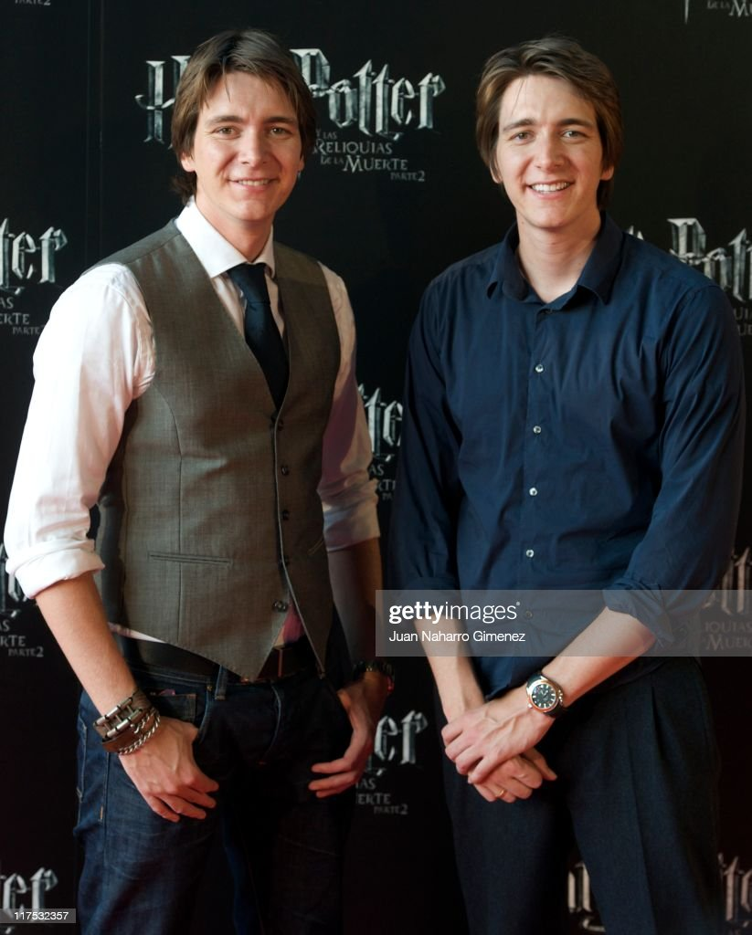 ActorsJames Phelps (L) and Oliver Phelps attend 'Harry Potter and The Deathly Hallows Part 2' premiere at Kinepolis Cinema on June 27, 2011 in Madrid, Spain.