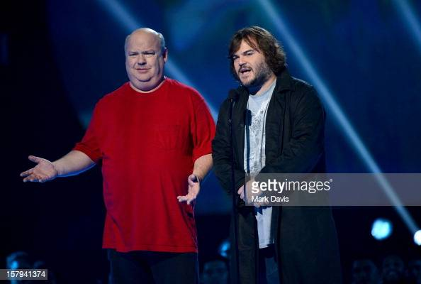 Actors/musicians Kyle Gass and Jack Black of Tenacious D speak onstage during Spike TV's 10th annual Video Game Awards at Sony Studios on December 7...