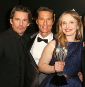 Actorsscreenwriters Ethan Hawke and Julie Delpy winners of the Critics' Choice LOUIS XIII Genius Award and actor Matthew McConaughey during the 19th...
