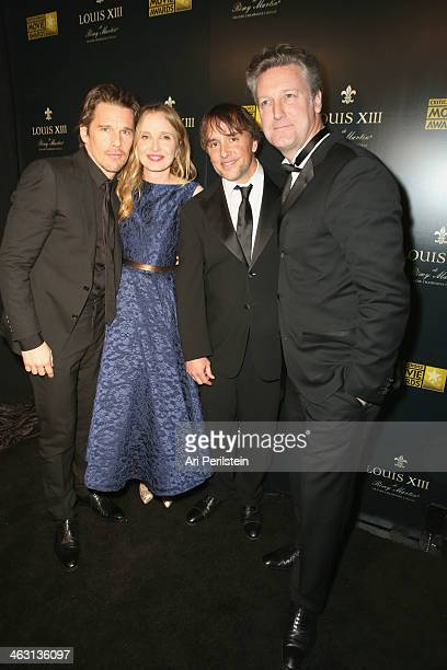 Actorsscreenwriters Ethan Hawke Julie Delpy and directorscreenwriter Richard Linklater winners of the Critics' Choice LOUIS XIII Genius Award and...