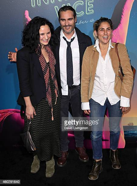 Actors/siblings Rain Phoenix Joaquin Phoenix and Summer Phoenix attend the pemiere of Warner Bros Pictures' 'Inherent Vice' at the TCL Chinese...