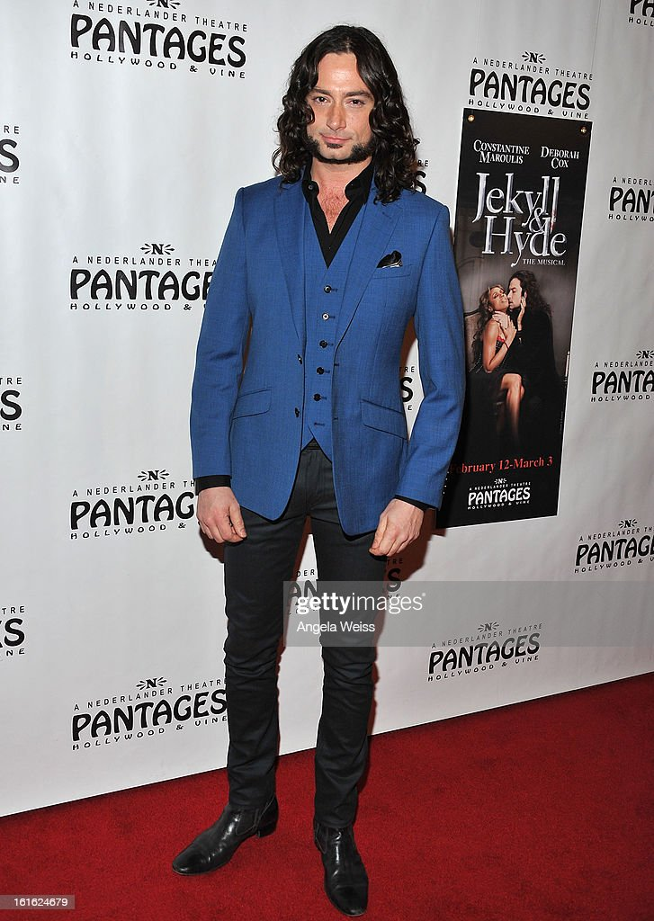 Actors/singer Constantine Maroulis arrive at the opening night of 'Jekyll & Hyde' held at the Pantages Theatre on February 12, 2013 in Hollywood, California.