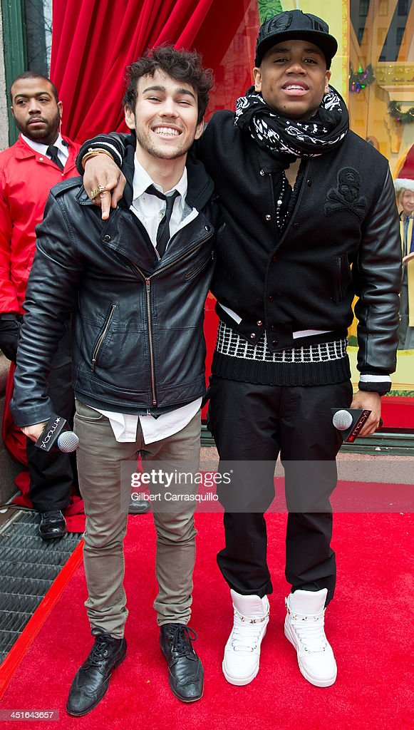 Actors/singers Max Schneider and Mack Wilds attend the 2013 Macy's Center City Holiday Windows Unveiling at Macy's Center City on November 23 2013 in...