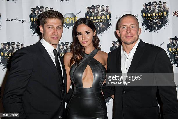 Actor/stuntman Alain Moussi actress Sara Malakul Lane and actor/MMA Georges StPierre arrive at the premiere of RLJ Entertainment's 'Kickboxer...