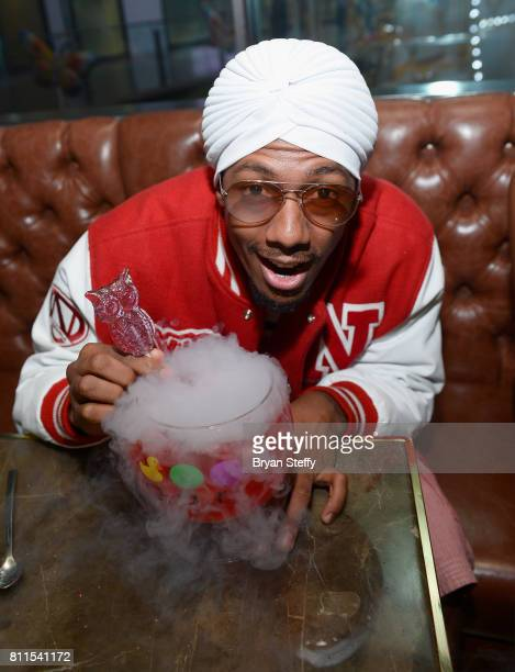Actor/television personality Nick Cannon is presented Drake's specialty 'Night Owl Goblet' made with Virginia Black Whiskey at Sugar Factory American...
