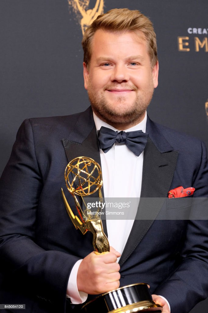 Actor/TV Host James Corden poses in the pressroom during the 2017 Creative Arts Emmy Awards at Microsoft Theater on September 9, 2017 in Los Angeles, California.
