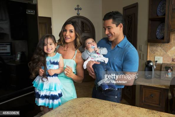 Actor/TV host Mario Lopez and his family wife Courtney daughter Gia and son Dominic are photographed in their home for USA Today's Back To School...
