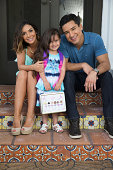 Actor/TV host Mario Lopez his wife Courtney and daughter Gia are photographed for USA Today's Back To School Magazine on July 15 2014 in Glendale...