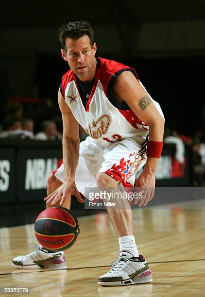 Actor/west coast player James Denton dribbles the ball during the McDonald's NBA AllStar Celebrity Game presented by 2K Sports held at Mandalay Bay...
