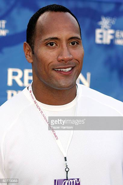 Actor/wrestler Dwayne 'The Rock' Johnson attends the 12th Annual Revlon Run/Walk For Women on May 7 2005 in Los Angeles California