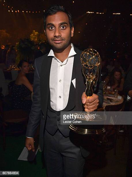 Actor/writer Aziz Ansari winner of the Outstanding Writing for a Comedy Series award for the 'Master of None' episode 'Parents' attends the 68th...