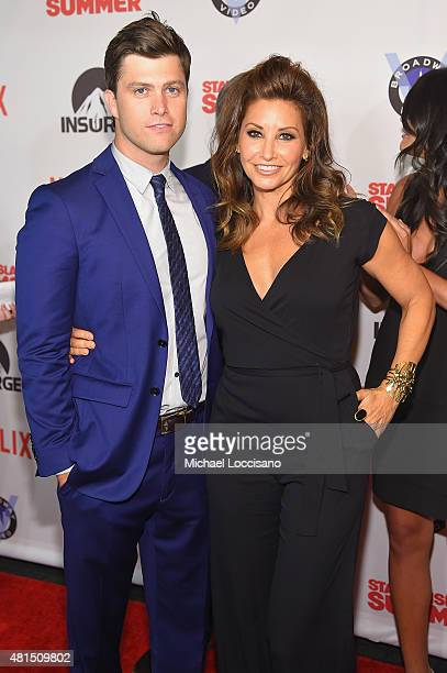 Actor/writer Colin Jost and Actress Gina Gershon attend the 'Staten Island Summer' New York Premiere at Sunshine Landmark on July 21 2015 in New York...