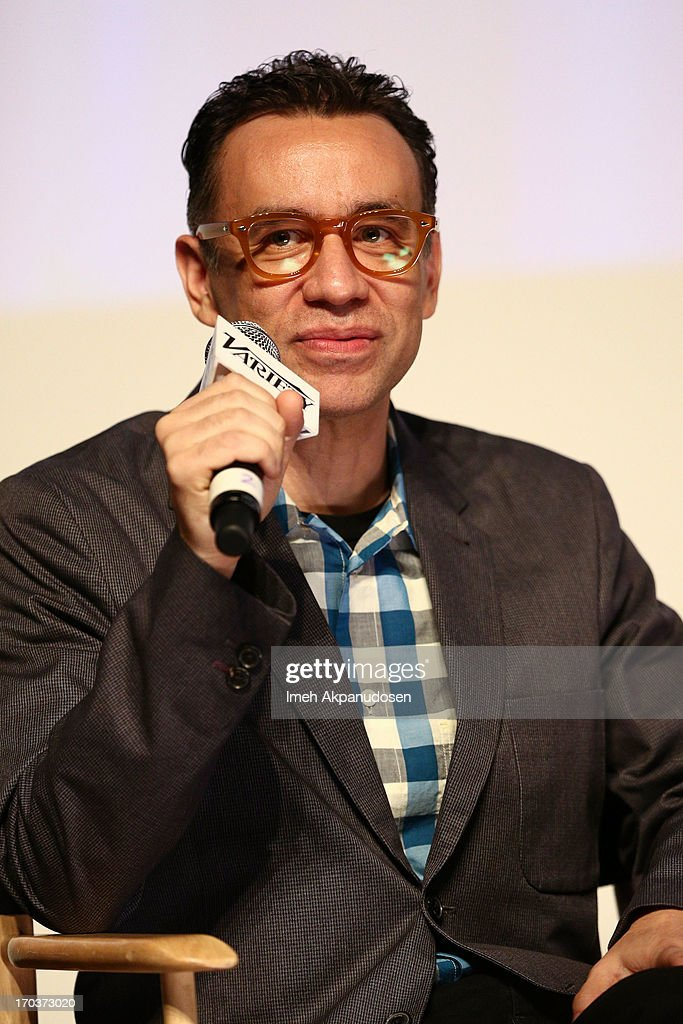 Actor/writer <a gi-track='captionPersonalityLinkClicked' href=/galleries/search?phrase=Fred+Armisen&family=editorial&specificpeople=221426 ng-click='$event.stopPropagation()'>Fred Armisen</a> speaks onstage during Variety's A Night In The Writers' Room at Writers Guild Theater on June 11, 2013 in Beverly Hills, California.