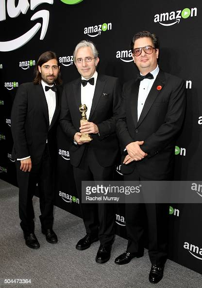 Actor/writer Jason Schwartzman writer/director Paul Weitz and writer/producer Roman Coppola attend Amazon's Golden Globe Awards Celebration at The...