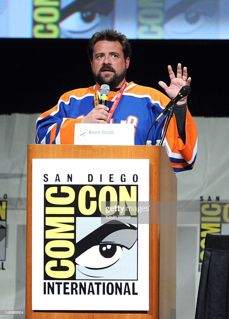 Actor/writer <a gi-track='captionPersonalityLinkClicked' href=/galleries/search?phrase=Kevin+Smith+-+Film+Director&family=editorial&specificpeople=5102286 ng-click='$event.stopPropagation()'>Kevin Smith</a> speaks at the 'Comi-Kev: Q&A With <a gi-track='captionPersonalityLinkClicked' href=/galleries/search?phrase=Kevin+Smith+-+Film+Director&family=editorial&specificpeople=5102286 ng-click='$event.stopPropagation()'>Kevin Smith</a>' panel during Comic-Con International 2012 at San Diego Convention Center on July 14, 2012 in San Diego, California.