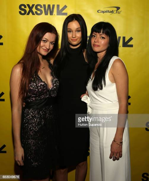 Actor/writer Leah McKendrick actor Melanie Britton and director Natalia Leite attend the premiere of 'MFA' during 2017 SXSW Conference and Festivals...