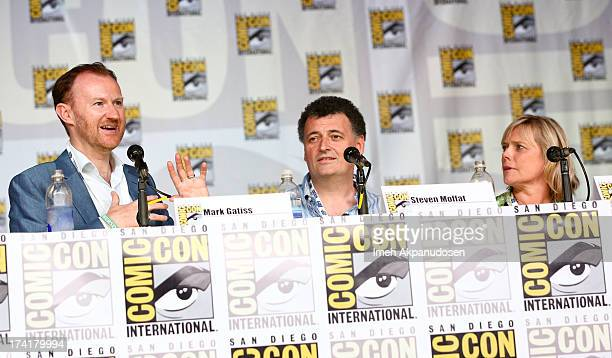 Actor/writer Mark Gatiss writer/producer Steven Moffat and producer Sue Vertue attend the 'Sherlock' panel during ComicCon International 2013 at San...