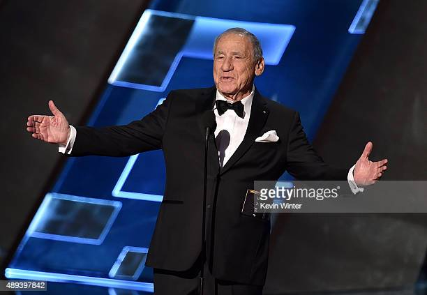 Actor/writer Mel Brooks speaks onstage during the 67th Annual Primetime Emmy Awards at Microsoft Theater on September 20 2015 in Los Angeles...