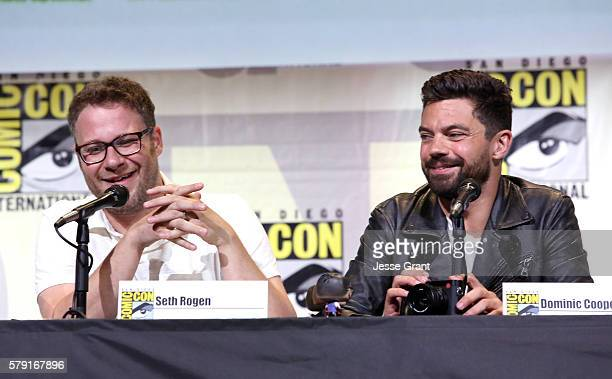 Actor/writer Seth Rogen and actor Dominic Cooper attend AMC's 'Preacher' panel during ComicCon International 2016 at San Diego Convention Center on...