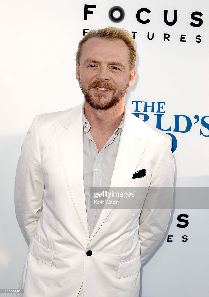 Actor/writer <a gi-track='captionPersonalityLinkClicked' href=/galleries/search?phrase=Simon+Pegg&family=editorial&specificpeople=206280 ng-click='$event.stopPropagation()'>Simon Pegg</a> arrives at the premiere of Focus Features' 'The World's End' at ArcLight Cinemas Cinerama Dome on August 21, 2013 in Hollywood, California.