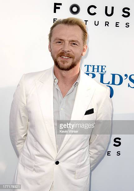 Actor/writer Simon Pegg arrives at the premiere of Focus Features' 'The World's End' at ArcLight Cinemas Cinerama Dome on August 21 2013 in Hollywood...