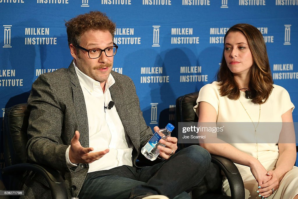 Actor/writer/co-founder Hilarity for Charity Seth Rogen (R) and actress/writer/co-founder Hilarity for Charity Lauren Miller Rogen speak onstage at the 2016 Milken Institute Global Conference on May 04, 2016 in Beverly Hills, California.