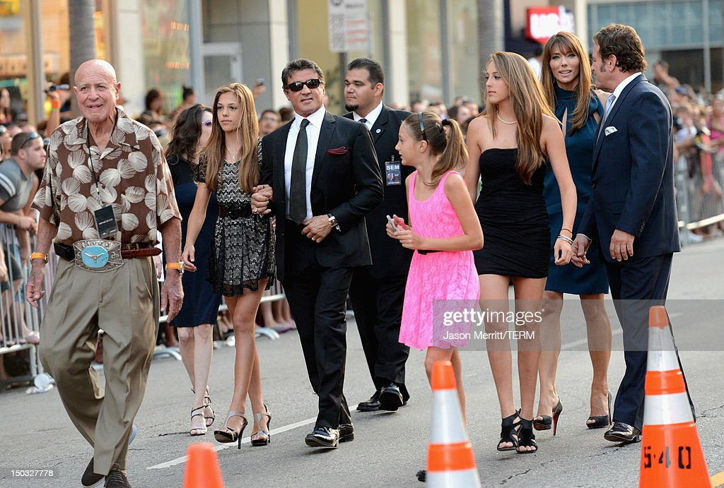 Actor/Writer/Director Sylvester Stallone (3rdL) and family arrive at Lionsgate Films' 'The Expendables 2' premiere on August 15, 2012 in Hollywood, California.