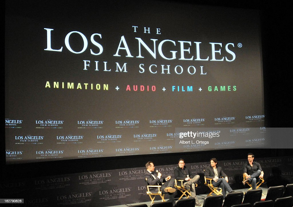 Actor/writer/producer Ivan Djurovic, director Dave Parker, actor Rick Irwin and moderator Ryan Turek attend the Screening and Q&A for 'ColdWater' at The Los Angeles Film School on February 26, 2013 in Hollywood, California.