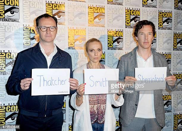 Actor/writer/producer Mark Gatiss actors Amanda Abbington and Benedict Cumberbatch attend the 'Sherlock' panel during ComicCon International 2016 at...