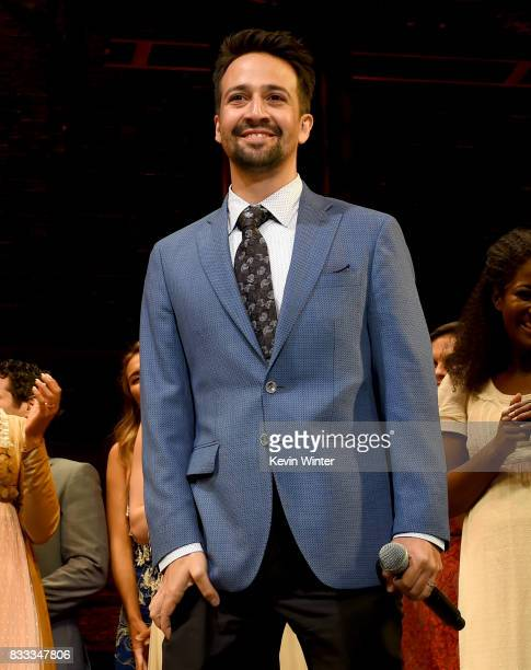 Actor/writer/songwriter LinManuel Miranda appears onstage at the opening night curtain call for 'Hamilton' at the Pantages Theatre on August 16 2017...