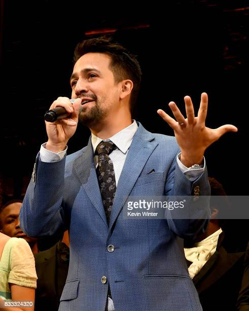 Actor/writer/songwriter LinManuel Miranda onstage at the opening night curtain call for 'Hamilton' at the Pantages Theatre on August 16 2017 in Los...