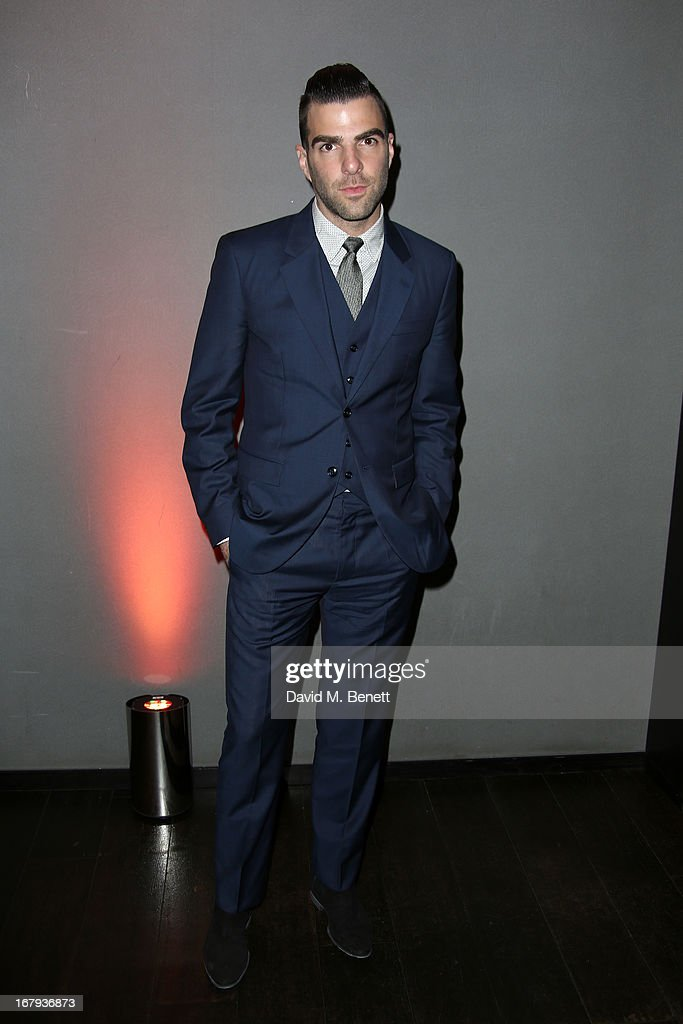Actory Zachery Quinto attends the UK Premiere - After Party of 'Star Trek Into Darkness' at Aqua on May 2, 2013 in London, England.