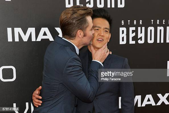 Actos Chris Pine and John Cho attend the premiere of Paramount Pictures' 'Star Trek Beyond' at Embarcadero Marina Park South on July 20 2016 in San...