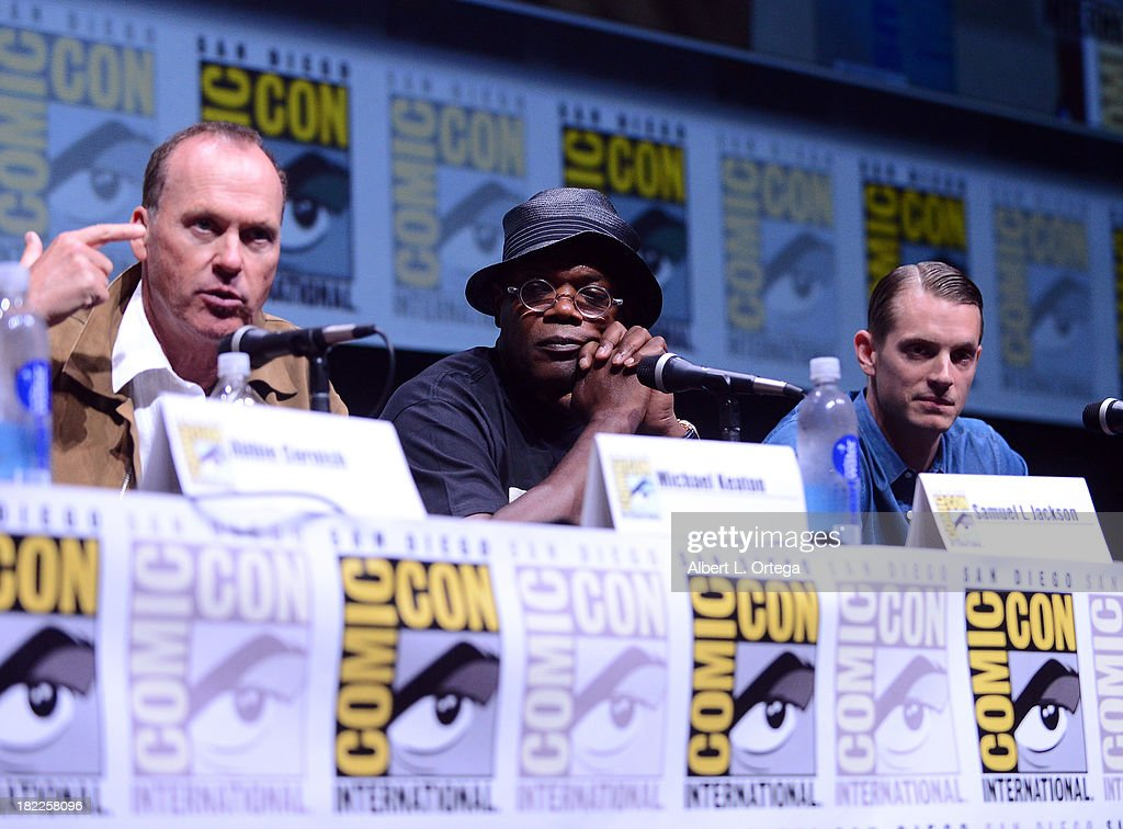 Actos Michael Keaton, Samuel L. Jackson and Joel Kinnaman attend The Sony and Screen Gems Panell featuring Robocop as part of Comic-Con International 2013 held at San Diego Convention Center on Friday July 19, 2012 in San Diego, California.
