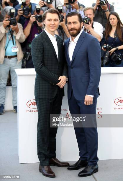 Actos Paul Dano and Jake Gyllenhaal attend the 'Okja' photocall during the 70th annual Cannes Film Festival at Palais des Festivals on May 19 2017 in...