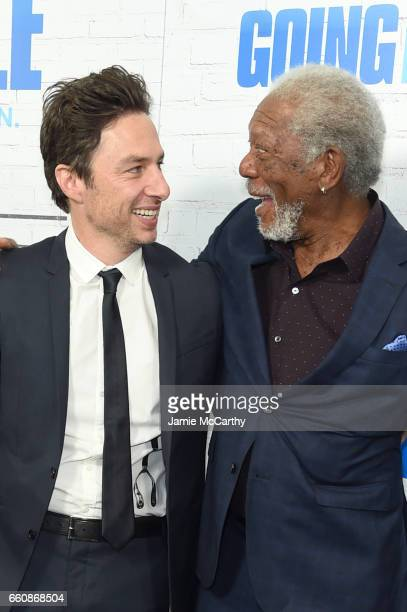 Actos Zach Braff and Morgan Freeman attend the 'Going In Style' New York Premiere at SVA Theatre on March 30 2017 in New York City