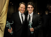 Actosr Bryan Cranston and RJ Mitte attend the 20th Annual Screen Actors Guild Awards at The Shrine Auditorium on January 18 2014 in Los Angeles...