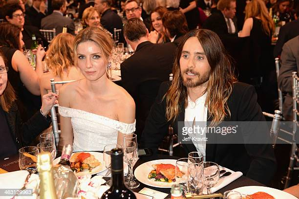 Actosr Jared Leto Annabelle Wallis attend the 19th Annual Critics' Choice Movie Awards at Barker Hangar on January 16 2014 in Santa Monica California