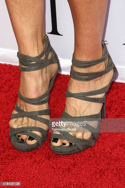 Actrass Alexandra Paul shoe detail attends the world premiere screening of documentary 'Unity' held at the DGA Theater on June 24 2015 in Los Angeles...