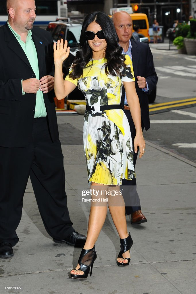Actrees Salma Hayek is seen enters 'Good Morning America' taping at the ABC Times Square Studios on July 11, 2013 in New York City.