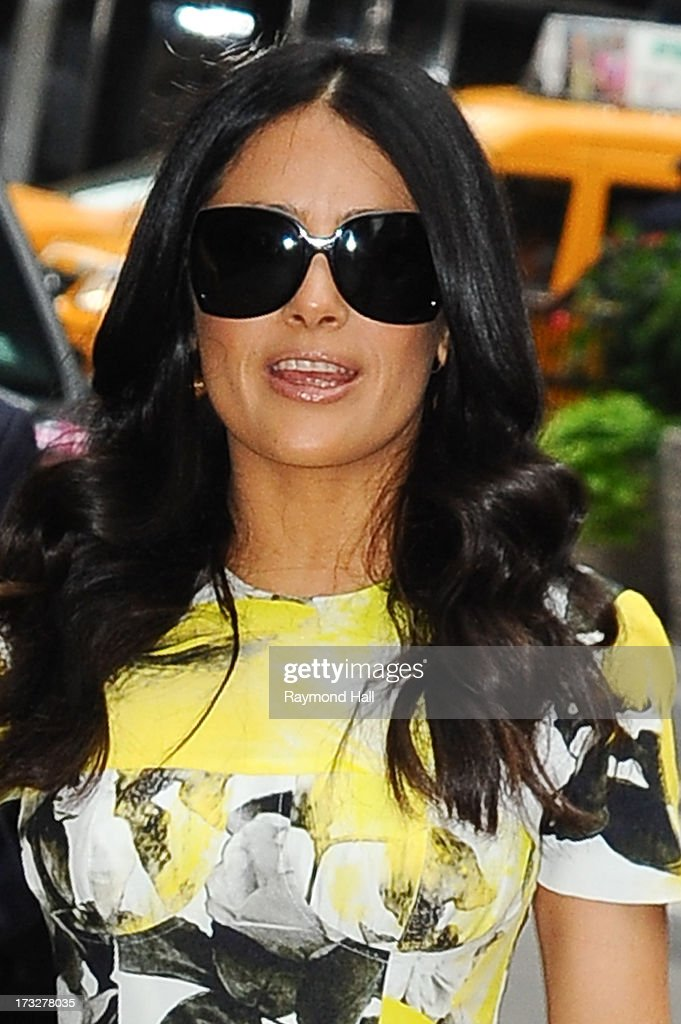 Actrees <a gi-track='captionPersonalityLinkClicked' href=/galleries/search?phrase=Salma+Hayek&family=editorial&specificpeople=201844 ng-click='$event.stopPropagation()'>Salma Hayek</a> is seen enters 'Good Morning America' taping at the ABC Times Square Studios on July 11, 2013 in New York City.